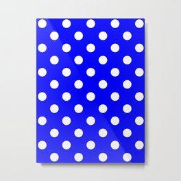 Polka Dots - White on Blue Metal Print