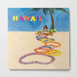 Hawaii Vintage Retro Travel Poster Metal Print