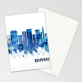 Birmingham England Skyline Blue Stationery Cards