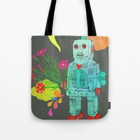 robot Tote Bags featuring Robot by Elisandra
