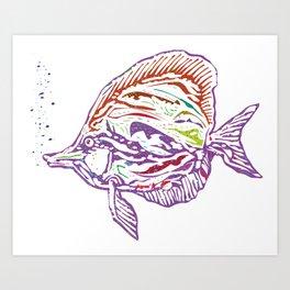 Purple Tropical Fish Art Print