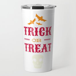 Halloween Bats and Skull Trick or Treat Travel Mug
