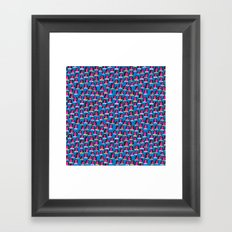 Pink Heads On Blue Framed Art Print
