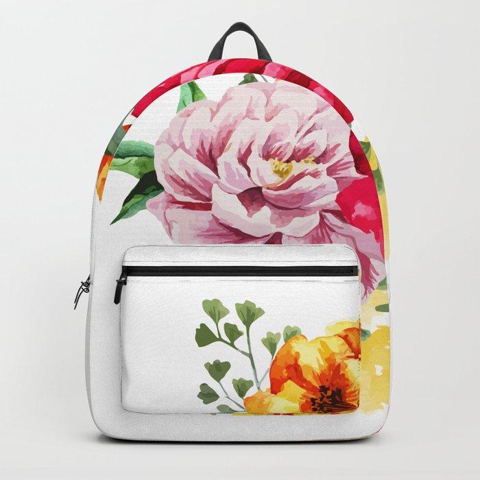 Watercolor Spring Flowers Backpack