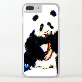 When a panda catches a rainbow Clear iPhone Case