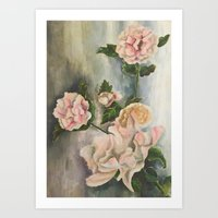 peonies Art Prints featuring Peonies by Shazia Ahmad