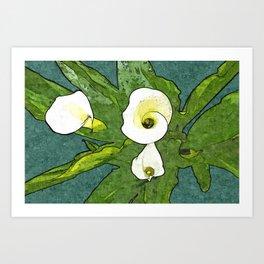 Calla Flowers Bouquet Art Print
