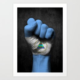 Nicaraguan Flag on a Raised Clenched Fist Art Print