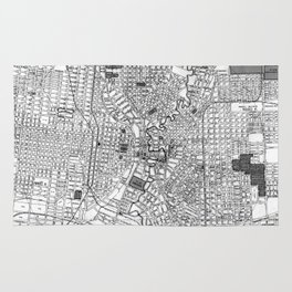 Vintage Map of San Antonio Texas (1909) BW Rug