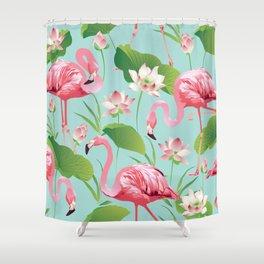 Flamingos Pattern on Aqua Shower Curtain