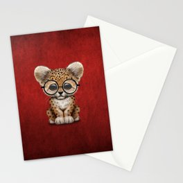 Cute Baby Leopard Cub Wearing Glasses on Deep Red Stationery Cards