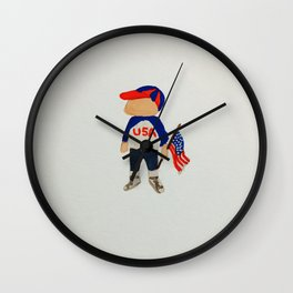 Toddlers Fourth of July Parade Watercolor Painting Wall Clock
