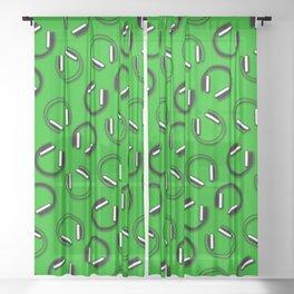 Headphones-Green Sheer Curtain