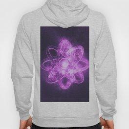 Atom symbol. Abstract night sky background Hoody