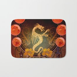 Awesome tribal dragon in golden colors Bath Mat
