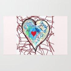 scribble heart Rug
