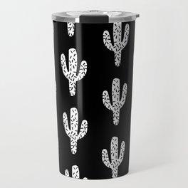Cactus minimal linocut pattern southwest printmaking art summer Travel Mug