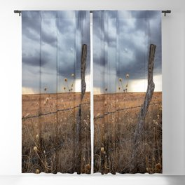 February Rain - Old Fence Post and Storm on Winter Day in Oklahoma Blackout Curtain