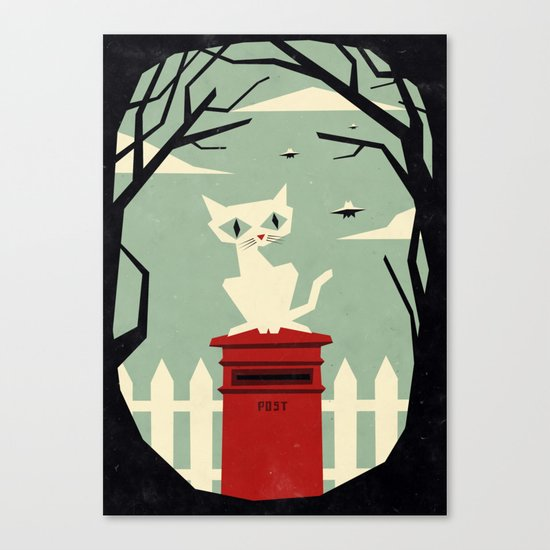 Let's meet at the red post box Canvas Print