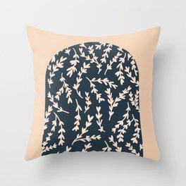 Navy Arch with floral pattern Throw Pillow