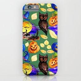 Halloween Jack-O-Lattern and Owl Pattern iPhone Case