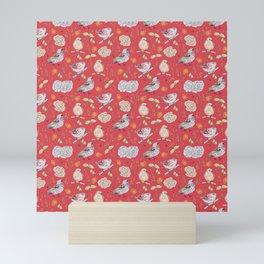 Birdy Roses pattern 2 Mini Art Print