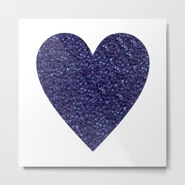 Sparkling Heart blue Metal Print