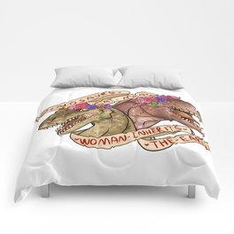 Dinosaur Eat Man. Woman Inherits the Earth Comforters