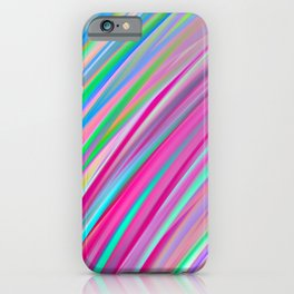 Rainbow print lines, diagonal graphic, abstract print iPhone Case
