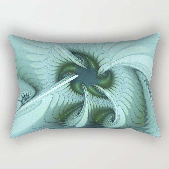 Green Lights in a blue Fantasy Fractal Rectangular Pillow