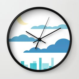 Moon, Clouds and City Wall Clock