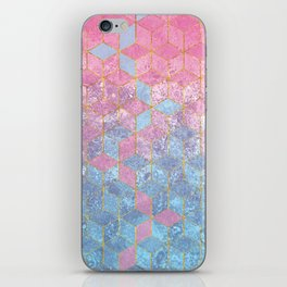 Pink and Blue Gradient Cube Pattern iPhone Skin
