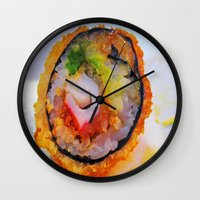 sushi Wall Clocks featuring Sushi by Gio Garcia