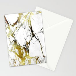 Gold-White Marble Impress Stationery Cards