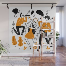 Hand drawn musicians playing music Wall Mural