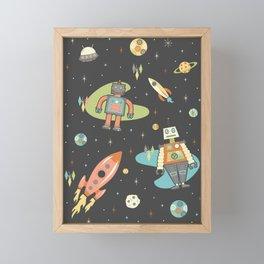 Robots in Space Framed Mini Art Print
