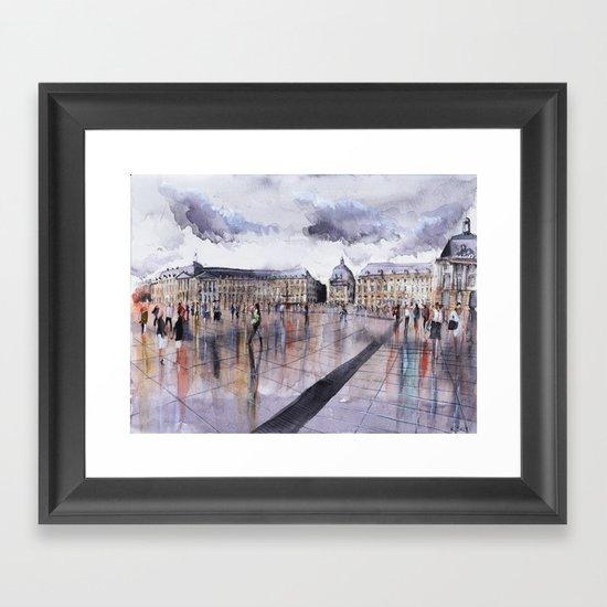 La Place de la Bourse - watercolor Framed Art Print