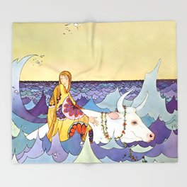 """Europa and the Bull"" by Virginia Sterrett Throw Blanket"
