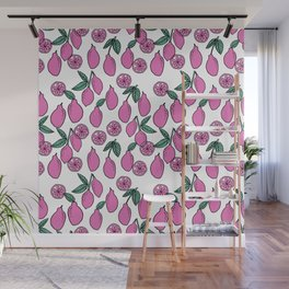 Lemons minimal pastel pink pattern print by andrea lauren cute home decor fruit patterns Wall Mural