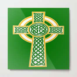 St Patrick's Day Celtic Cross White and Green Metal Print
