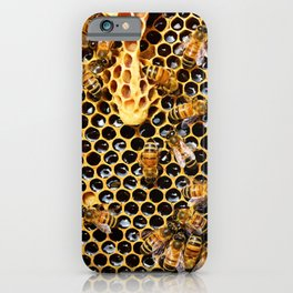swarm of bees on honeycomb iPhone Case