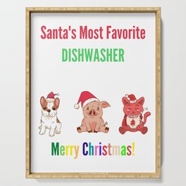 Santa's Most Favourite Dishwasher Serving Tray