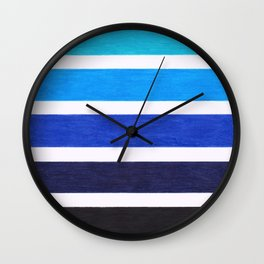 Colorful Blue Stripe Pattern Wall Clock
