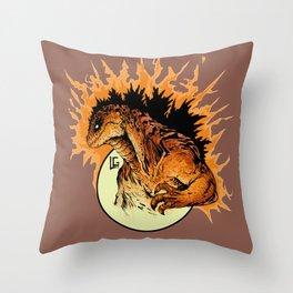 Burning Godzilla Throw Pillow