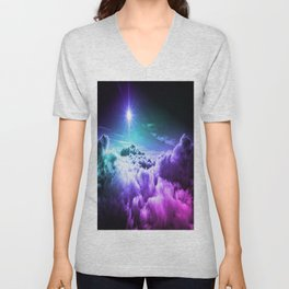 Cool Tone Ombre Clouds Unisex V-Neck