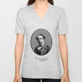 Authors - Charles Dickens Unisex V-Neck