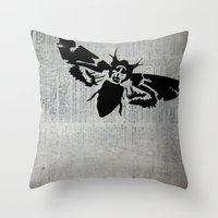 silence of the lambs Throw Pillows featuring Silence of the Lambs by Kat Phelps