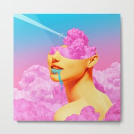 Pink Cloud Meta Woman Metal Print