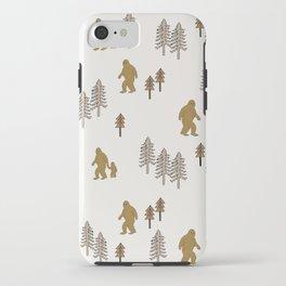 Sasquatch forest woodland mythic animal nature pattern cute kids design forest iPhone Case
