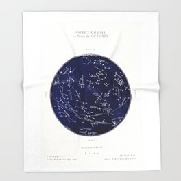 French October Star Map in Deep Navy & Black, Astronomy, Constellation, Celestial Throw Blanket